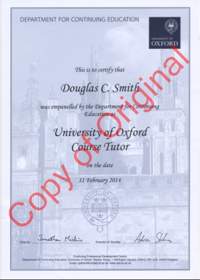 University of Oxford Certificate